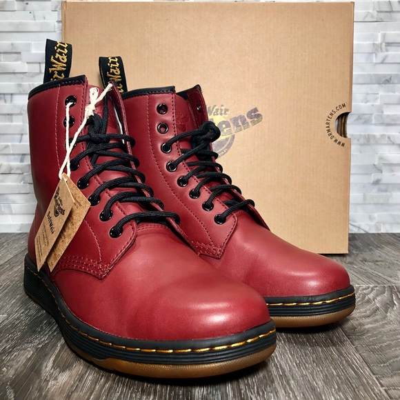 966eb361ee6 Dr. Martens Newton Cherry Red Leather Combat Boots
